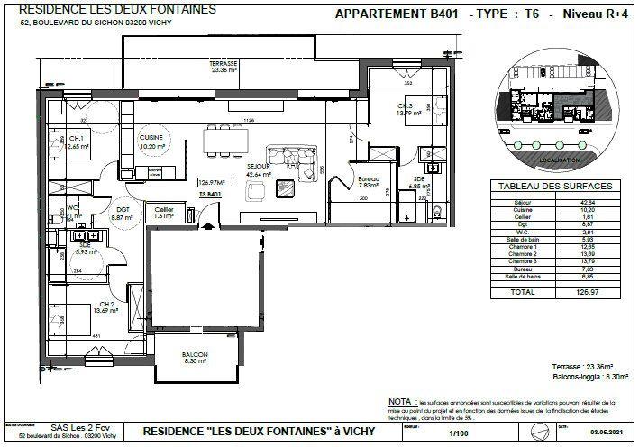 Appartement à vendre 4 126.97m2 à Vichy vignette-2