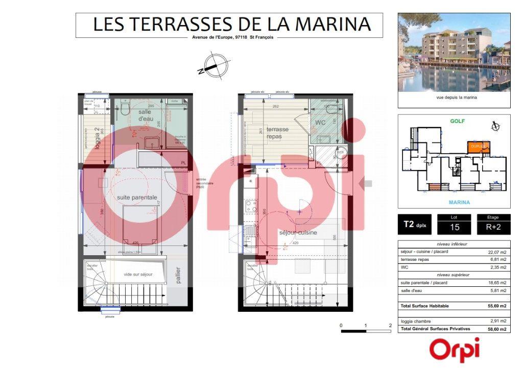 Appartement à vendre 2 58.6m2 à Saint-François vignette-4