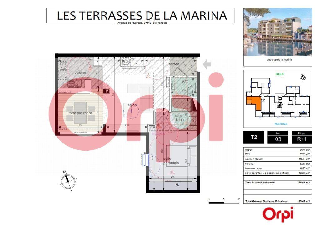 Appartement à vendre 2 46.89m2 à Saint-François vignette-3