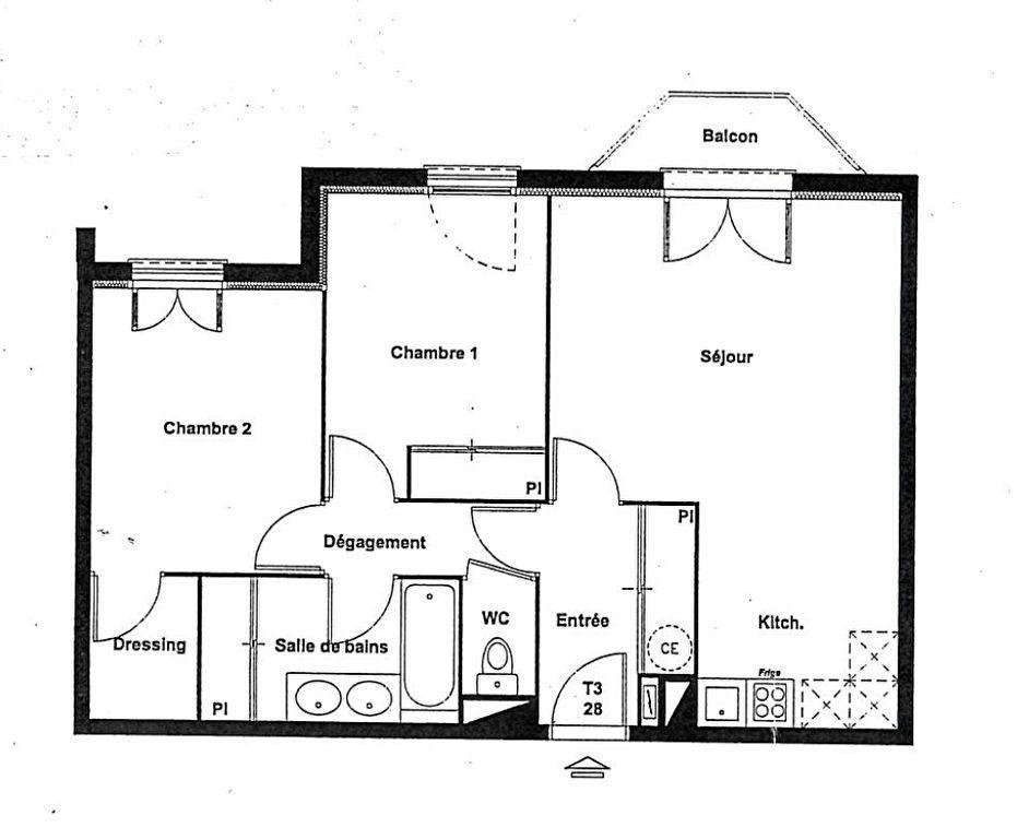 Appartement à vendre 3 62m2 à Tournefeuille plan-1