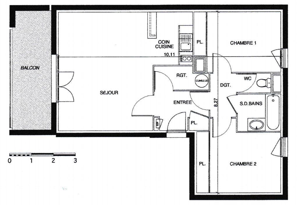 Appartement à vendre 3 63m2 à Tournefeuille plan-1
