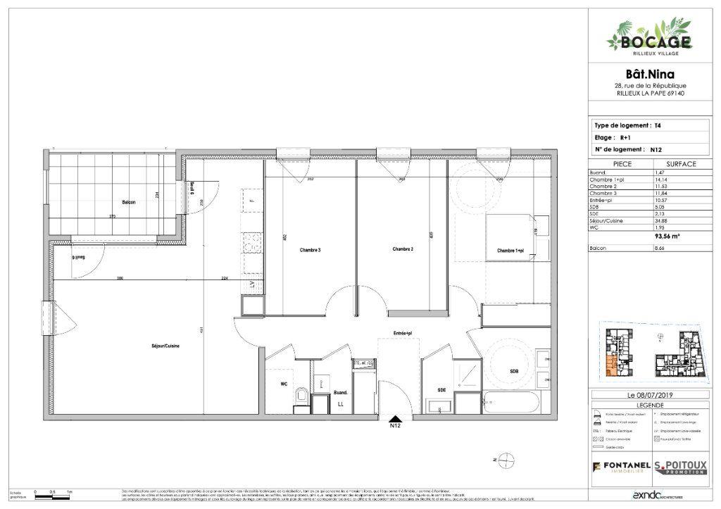 Appartement à vendre 4 94m2 à Rillieux-la-Pape plan-1