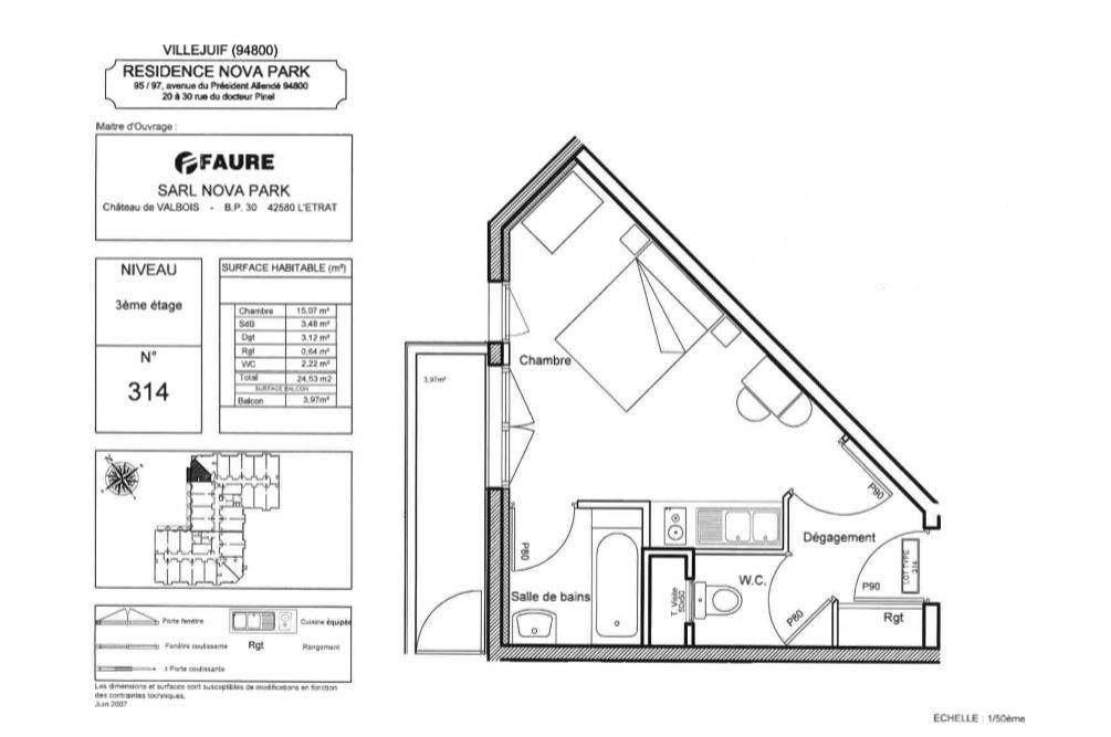 Appartement à vendre 1 24.53m2 à Villejuif vignette-3
