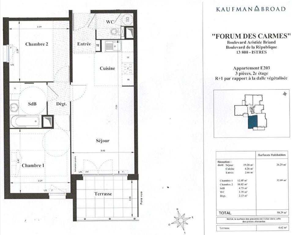 Appartement à louer 3 58.29m2 à Istres plan-1