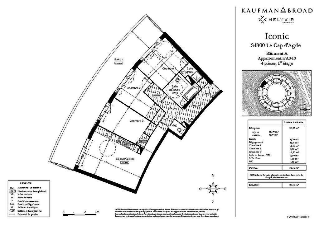 Appartement à vendre 4 82m2 à Le Cap d'Agde - Agde vignette-2