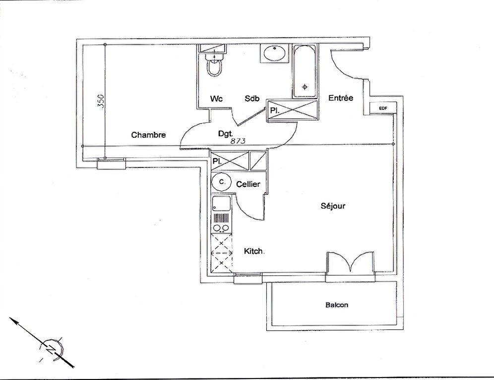 Appartement à louer 45.72m2 à La Salvetat-Saint-Gilles