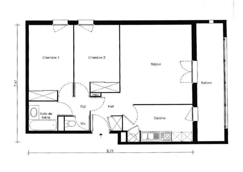 Appartement à vendre 3 66.65m2 à Colomiers plan-1
