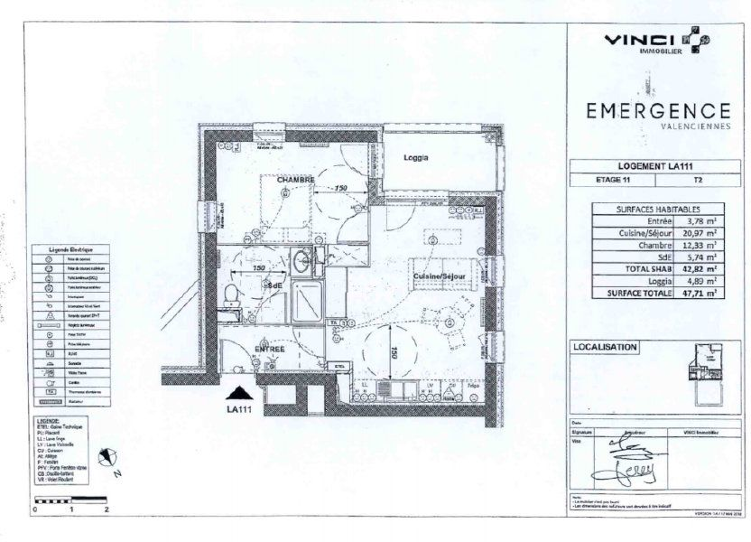 Appartement à louer 42.82m2 à Valenciennes