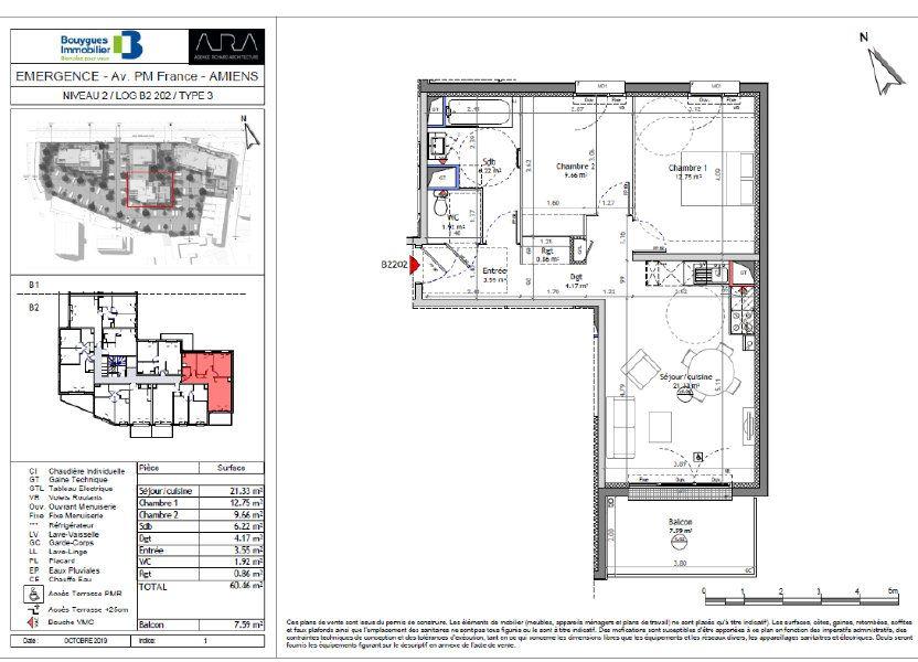 Appartement à vendre 60.46m2 à Amiens