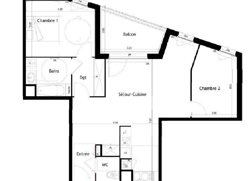 Appartement à louer 69.52m2 à Villeurbanne