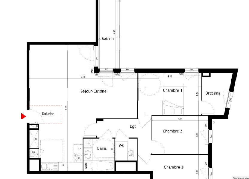 Appartement à louer 92.68m2 à Villeurbanne