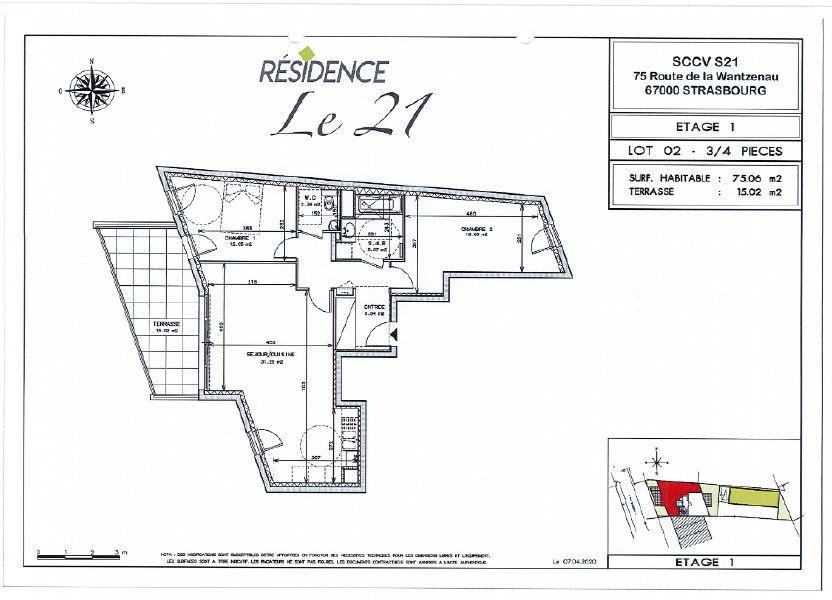 Appartement à vendre 75.06m2 à Strasbourg
