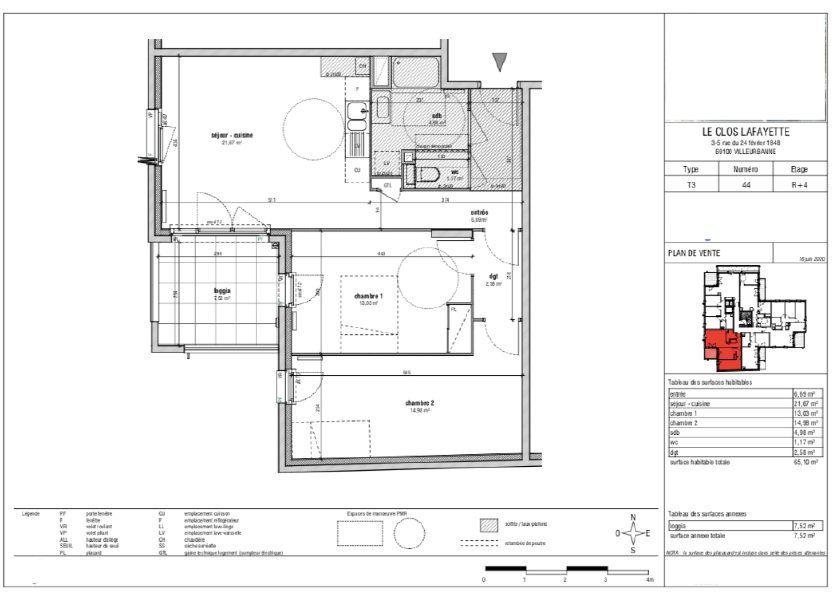 Appartement à vendre 65.24m2 à Villeurbanne