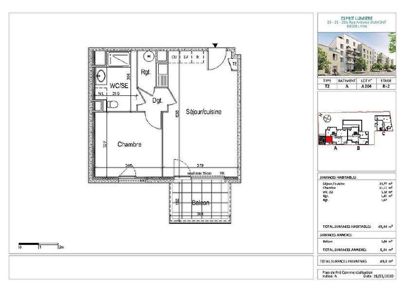 Appartement à vendre 43.96m2 à Lyon 8