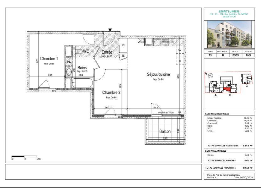 Appartement à vendre 61.24m2 à Lyon 8