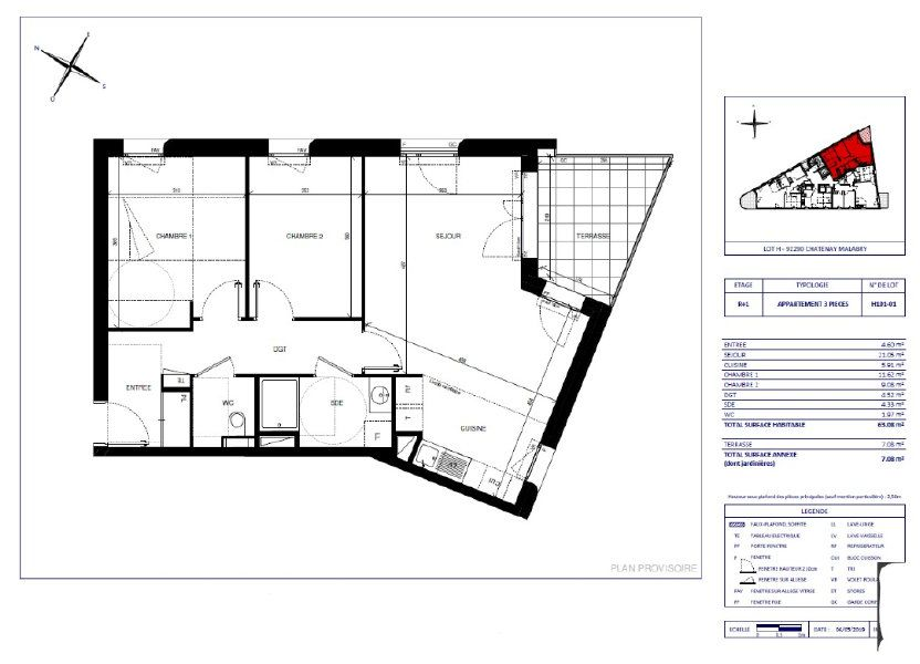 Appartement à vendre 63.08m2 à Châtenay-Malabry