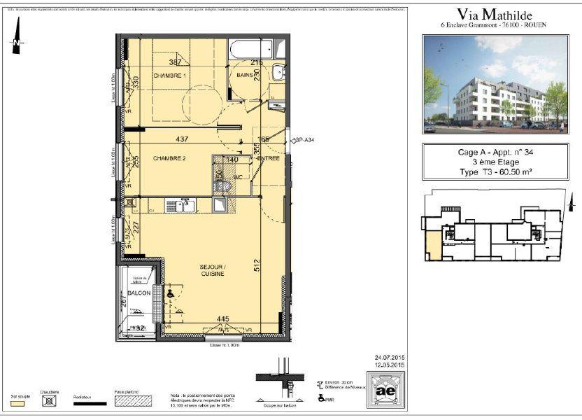 Appartement à louer 60.5m2 à Rouen