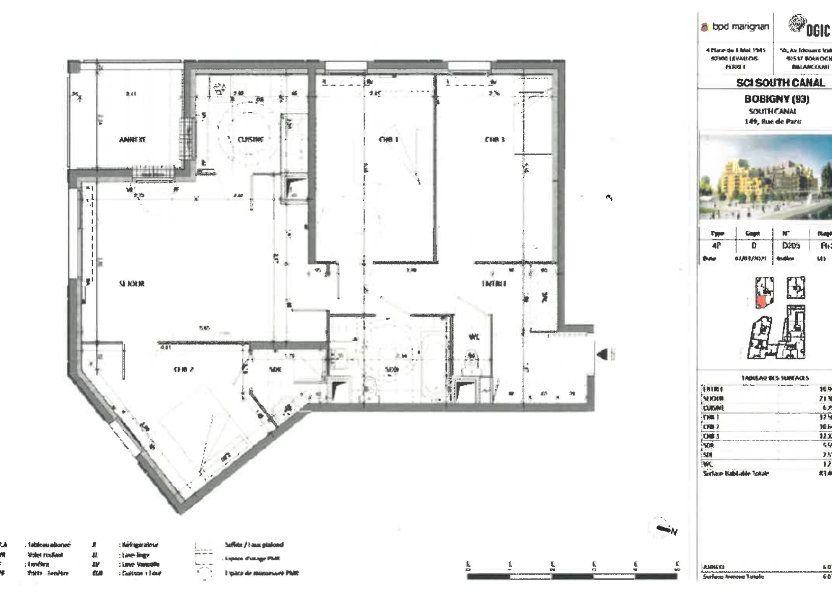 Appartement à louer 83.46m2 à Bobigny
