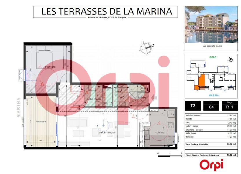 Appartement à vendre 61.05m2 à Saint-François