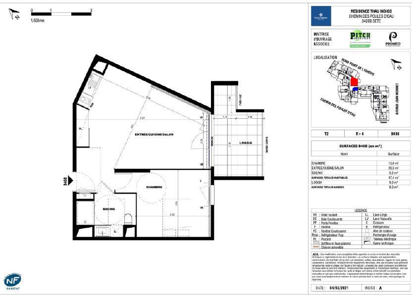 Appartement à vendre 47.4m2 à Sète
