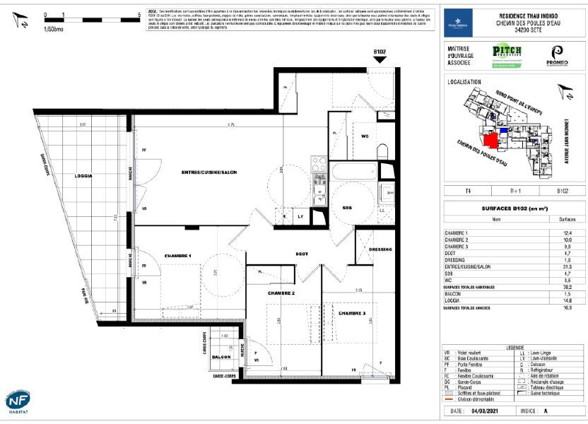 Appartement à vendre 78.2m2 à Sète